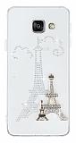 Samsung Galaxy A3 2016 Love Taşlı Şeffaf Paris Silikon Kılıf