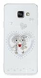 Samsung Galaxy A3 2016 Love Taşlı Şeffaf Silikon Kılıf