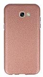 Samsung Galaxy A3 2017 Silikon Kenarlı Deri Desenli Rose Gold Rubber Kılıf