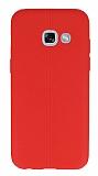 Samsung Galaxy A3 2017 Deri Desenli Ultra İnce Kırmızı Silikon Kılıf
