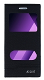 Samsung Galaxy A3 2017 Gizli Mıknatıslı Pencereli Siyah Deri Kılıf
