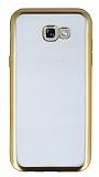 Samsung Galaxy A3 2017 Gold Kenarlı Şeffaf Silikon Kılıf