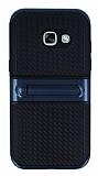 Samsung Galaxy A3 2017 Standlı Çizgili Lacivert Silikon Kılıf