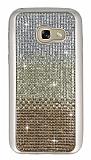 Samsung Galaxy A3 2017 Taşlı Geçişli Gold Silikon Kılıf