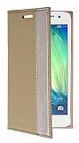 Samsung Galaxy A3 Gizli Mıknatıslı Yan Kapaklı Gold Kılıf