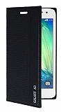 Samsung Galaxy A3 Gizli Mıknatıslı Yan Kapaklı Siyah Kılıf