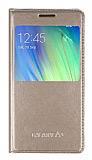 Samsung Galaxy A3 Pencereli İnce Kapaklı Gold Deri Kılıf
