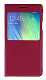 Samsung Galaxy A3 Pencereli �nce Kapakl� Pembe Deri K�l�f