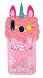 Samsung Galaxy A30 Simli Unicorn Açık Pembe Silikon Kılıf