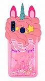Samsung Galaxy A30 Simli Unicorn Pembe Silikon Kılıf