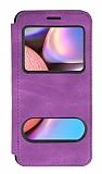 Samsung Galaxy A30S Çift Pencereli Kapaklı Mor Kılıf