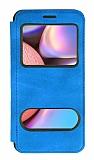 Samsung Galaxy A30S Çift Pencereli Kapaklı Mavi Kılıf