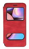 Samsung Galaxy A30S Çift Pencereli Kapaklı Kırmızı Kılıf