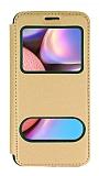 Samsung Galaxy A30S Çift Pencereli Kapaklı Gold Kılıf