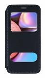 Samsung Galaxy A30S Çift Pencereli Kapaklı Siyah Kılıf