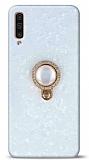 Samsung Galaxy A30s Mozaik Yüzüklü Beyaz Silikon Kılıf