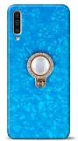 Samsung Galaxy A30s Mozaik Yüzüklü Mavi Silikon Kılıf