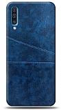 Samsung Galaxy A30s Silikon Kenarlı Kartlıklı Lacivert Deri Kılıf