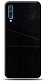 Samsung Galaxy A30s Silikon Kenarlı Kartlıklı Siyah Deri Kılıf