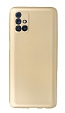 Samsung Galaxy M31s Kamera Korumalı Gold Silikon Kılıf