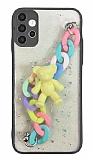 Samsung Galaxy A52 / A52 5G Bilek Askılı Ayıcıklı Zincirli Kamera Korumalı Siyah Kılıf