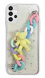 Samsung Galaxy A52 / A52 5G Bilek Askılı Ayıcıklı Zincirli Kamera Korumalı Beyaz Kılıf