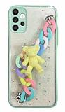 Samsung Galaxy A52 / A52 5G Bilek Askılı Ayıcıklı Zincirli Kamera Korumalı Yeşil Kılıf