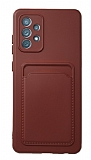 Samsung Galaxy A52 / A52 5G Kartlıklı Kamera Korumalı Bordo Kılıf