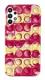 Samsung Galaxy A52 / A52 5G Push Pop Bubble Sarı-Pembe Silikon Kılıf