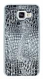 Samsung Galaxy A5 2016 Deri Desenli Parlak Silver Silikon Kılıf