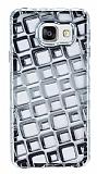 Samsung Galaxy A5 2016 Kare Desenli Silver Silikon Kılıf
