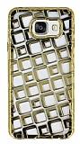Samsung Galaxy A5 2016 Kare Desenli Gold Silikon Kılıf
