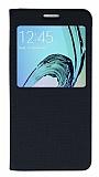 Samsung Galaxy A5 2016 Pencereli İnce Kapaklı Siyah Kılıf