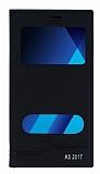 Samsung Galaxy A5 2017 Gizli Mıknatıslı Pencereli Siyah Deri Kılıf