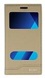 Samsung Galaxy A5 2017 Gizli Mıknatıslı Pencereli Gold Deri Kılıf