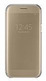 Samsung Galaxy A5 2017 Orjinal Clear View Uyku Modlu Gold Kılıf