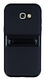 Samsung Galaxy A5 2017 Standlı Çizgili Siyah Silikon Kılıf