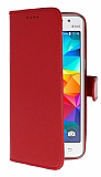 Samsung Galaxy Grand Prime / Prime Plus Cüzdanlı Yan Kapaklı Kırmızı Deri Kılıf