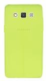 Samsung Galaxy A5 Deri Desenli Ultra İnce Neon Sarı Silikon Kılıf