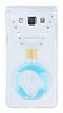Samsung Galaxy A7 Taşlı Standlı Mavi Sulu Parfüm Silikon Kılıf