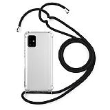 Samsung Galaxy A51 Siyah Askılı Şeffaf Silikon Kılıf