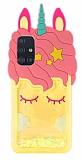 Samsung Galaxy A51 Simli Unicorn Sarı Silikon Kılıf