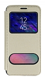 Samsung Galaxy A6 2018 Çift Pencereli Kapaklı Gold Kılıf