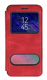 Samsung Galaxy A6 2018 Çift Pencereli Kapaklı Kırmızı Kılıf