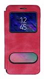 Samsung Galaxy A6 2018 Çift Pencereli Kapaklı Pembe Kılıf