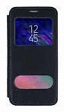 Samsung Galaxy A6 2018 Çift Pencereli Kapaklı Siyah Kılıf
