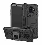 Samsung Galaxy A6 2018 Süper Koruma Standlı Siyah Kılıf