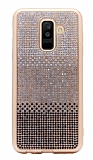 Samsung Galaxy A6 2018 Taşlı Geçişli Siyah Silikon Kılıf