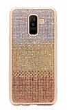 Samsung Galaxy A6 2018 Taşlı Geçişli Gold Silikon Kılıf