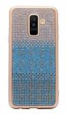 Samsung Galaxy A6 2018 Taşlı Geçişli Mavi Silikon Kılıf